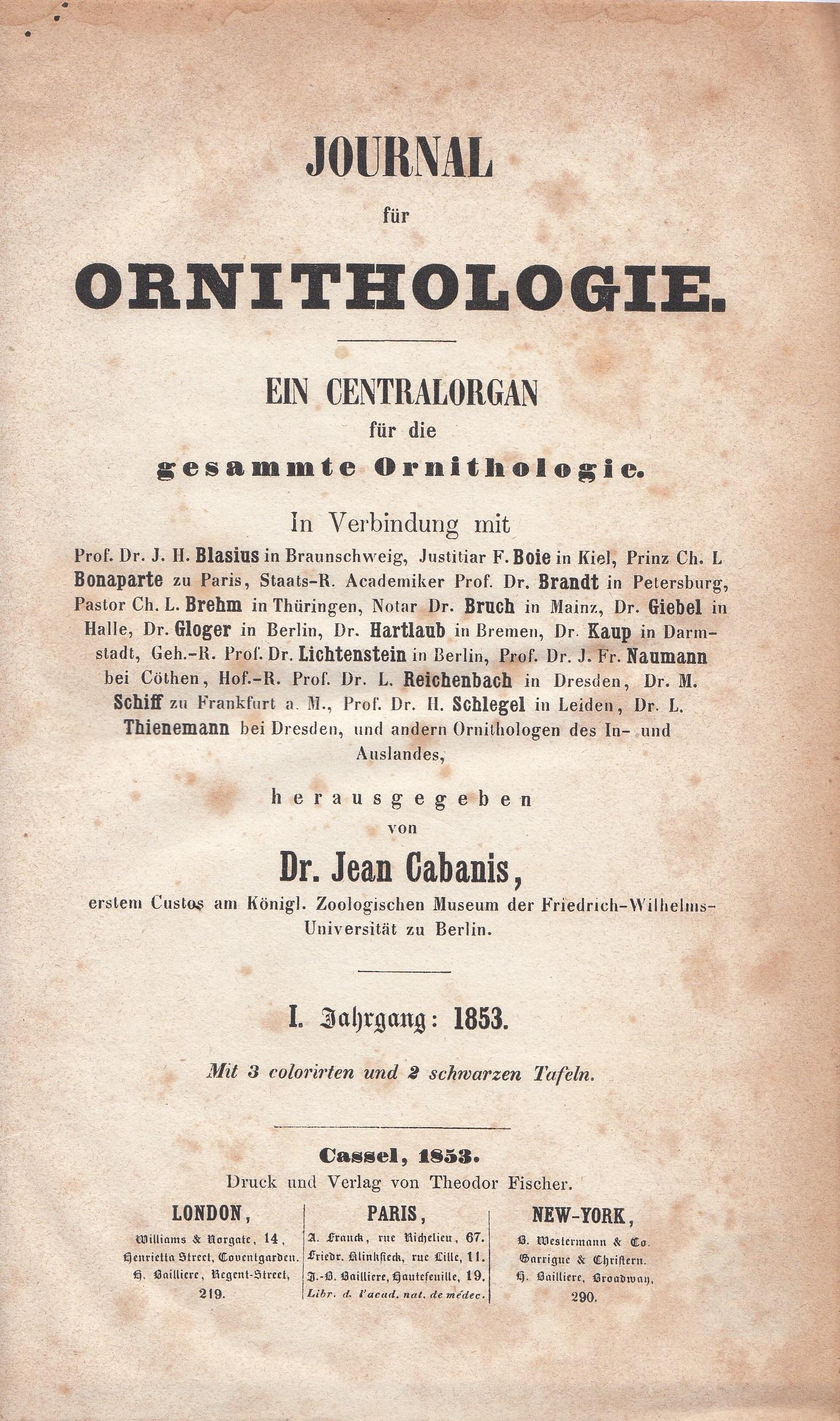 3 J. Ornithol Vol 1 - title page